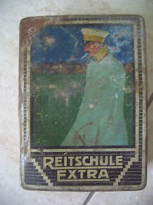 Reitschule extra old metal cigarette box with Prussian officer on the top