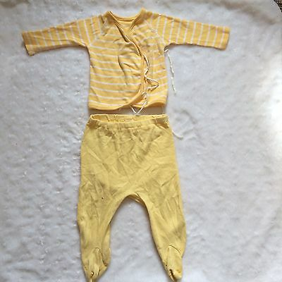 Vintage Hanna Andersson Yellow Sleeper Set Of 2 Pajamas Size 0-6 Month