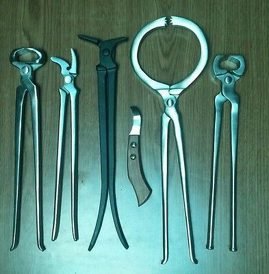 Farrier Tools 6 pcs Hoof Nipper Clincher Tester Shoe Puller Spreader Loop Knife