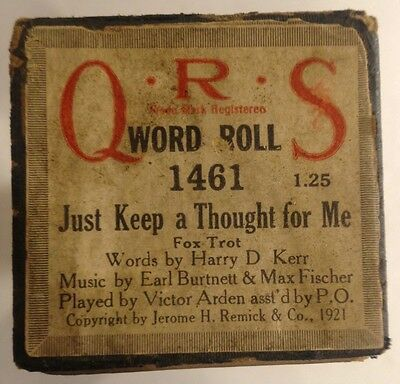 QRS Word Roll 1461 JUST KEEP A THOUGHT FOR ME Fox Trot VINTAGE 1921