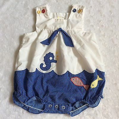 Vintage Baby Togs Size 12 Months Sailor Theme Scalloped One Piece