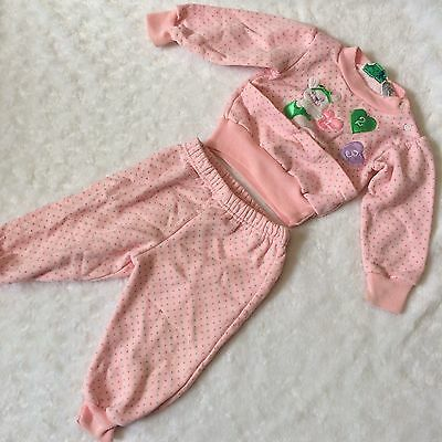I ❤️ U Vintage 12 Month 2 Piece Sleeper Outfit Hearts Pink Andover Togs