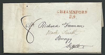 1816 entire from Chelmsford to Richard Freeman Bungy Suffolk with red Chelmsford