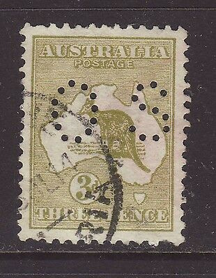 1913 1st wmk 3d Olive DIE 2 perforated OS fine used