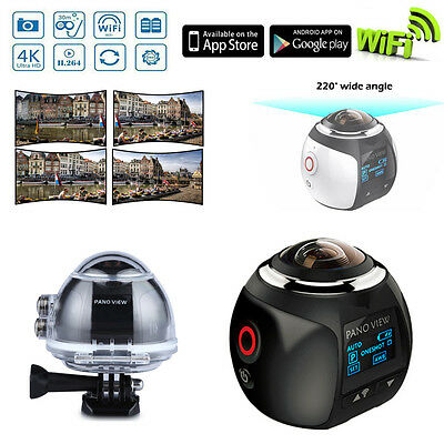 Waterproof 4K HD WIFI 360° Panoramic Sports Action Camera Video HDMI 3D VR FPV