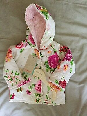 bnwt baby girls monsoon reversible 6-9 months coat