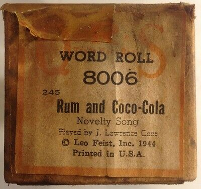 """""""Rum And Coca-Cola"""" QRS 8006 Player Piano Word Roll Novelty Song VINTAGE 1944"""