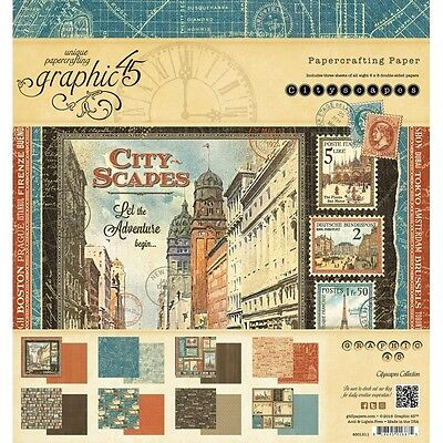 """NEW  Graphic 45 8"""" x 8"""" Paper Pad Cityscapes"""