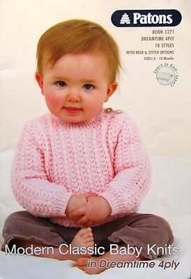 Patons Pattern Book 1271 Dreamtime Merino 4ply 18 Styles with Options 0-18 mths