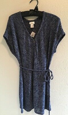 Motherhood Maternity Size XL Blue Space Dyed Belted Short Sleeve Tunic New
