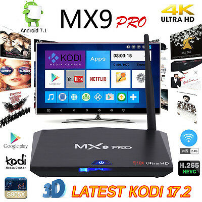 MX9 PRO 2GB+16GB Android 7.1 Nougat TV Box Quad Core KODI 17.1 2.4/5Ghz AC WI-FI
