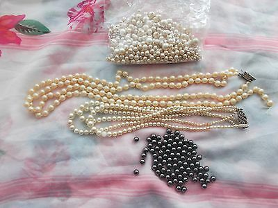 2  Broken Necklaces and bag of Beads for Crafts making
