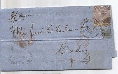 Letter Sent To Spain , Cadiz1868-----Newcastle Postmark,  And Postage Due....