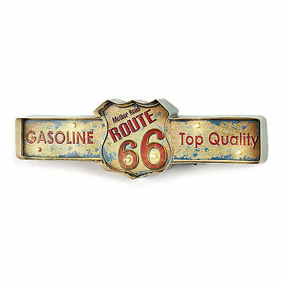 American Retro LIT Metal Gasoline Route 66 Sign Light Up Vintage Wall Art