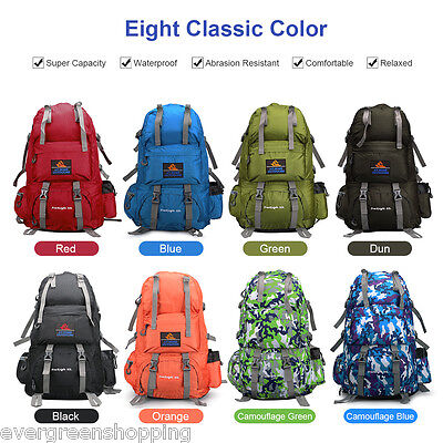 50L Large Waterproof Hiking Camping Travel Backpack Outdoor Rucksack Luggage Bag