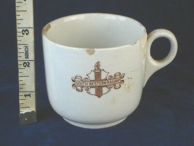 22532 Old Vintage Antique Advertising Cup South Western Railway Steam Train Sign