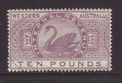 WESTERN AUSTRALIA 1893-99 £10 Internal Revenue, no faults. SCARCE!