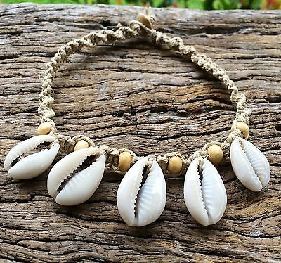 Hand Made Hemp Macrame Shell Anklet with Cowrie Shells With Blond Timber Beads