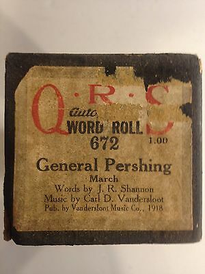 Vintage QRS Autograph Player Piano Word Roll GENERAL PERSHING 672 March 1918