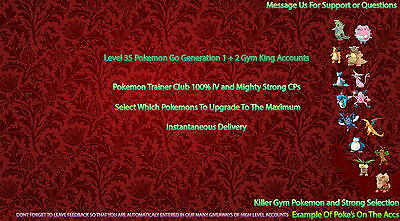 Premium-Pokemon-Go-Account | Level 35 | Epic 1st and 2nd Gen 100% IV / High CP |