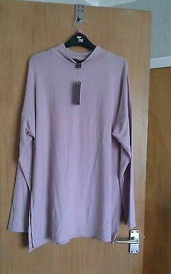 Ladies pink long sleeved funnel neck slit side tunic top size 18