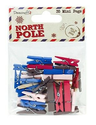 Dovecraft Assorted Christmas Wooden Craft Decorative Clothes Pegs - Pack of 35