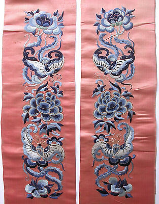 Pair Of Chinese Antique Silk Embroidered Sleeve Bands. Bats, Flowers, Pekin Knot