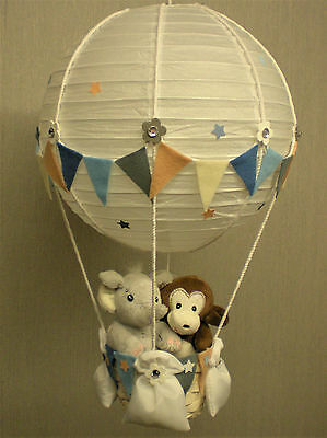 JUNGLE FRIENDS in hot Air Balloon Lamp Shade for Baby Nursery