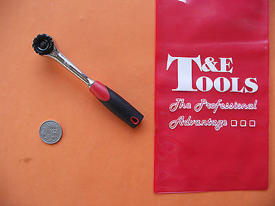 """NEW !! GEARLESS RATCHET 1/4""""dr. x 6"""" / 195mm w/- ZERO INDEX MOVEMENT T&E CHICAGO"""