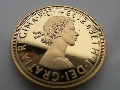 1963 Queen Elizabeth ii 22ct Gold Plated Full Sovereign