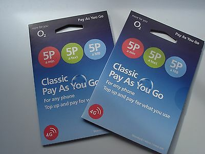 2 Classic 02 O2 Pay as You Go Sim card Standard, Micro, Nano 3/4G Latest 02 sims
