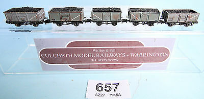 Graham Farish / Peco 'n' Lot Of 5 Weathered Mineral Wagons With Coal Loads #657W