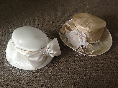 2 Ladies Hats Cream Net & Bow Straw Flower By Debut Wedding Races Free P&P
