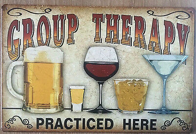 GROUP THERAPY Tin Metal Sign Rustic Look . MAN CAVE . brand new. AU SELLER