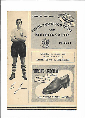 LUTON TOWN v BLACKPOOL - FA Cup Round 3 Replay - January 13th 1954