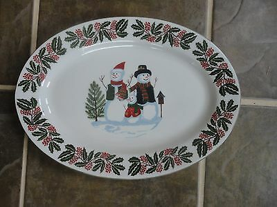 GEI Design Platter with Snowman Family and Holly