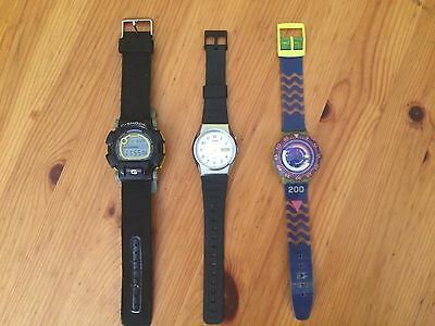 lote relojes Casio Racer Y Swatch.