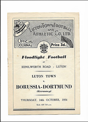 LUTON TOWN v BORUSSIA-DORTMUND - Floodlight Friendly - October 14th 1954