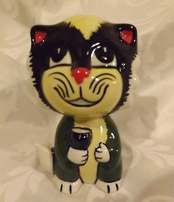 RARE Lorna Bailey Cat  Holding a Pint of Guiness Signed in Black