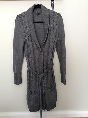 Serra Long Line Cardigan, S, Wool Blend, Grey, Cable Knit, Excellent Condition