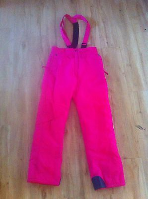 Ladies SPIRIT Snow Ski Pants Size 12 Hot Pink Overalls Bib & Brace Waterproof