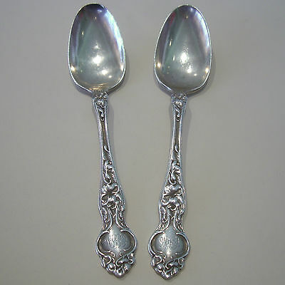 "Pair Of(2) Antique Wallace Violet Pattern 1904 Sterling Silver.925 6"" Tea Spoons"