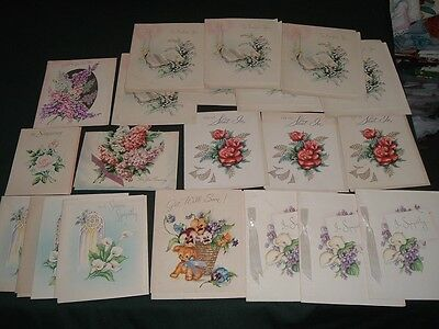 21 Vtg Lot 40s Greeting Cards Get Well Wishes Sympathy Florals Crafts Unused bdh