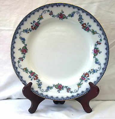 Six Antique Keeling & Co Losol Ware Bristol Dinner Plates Flow Blue And Roses