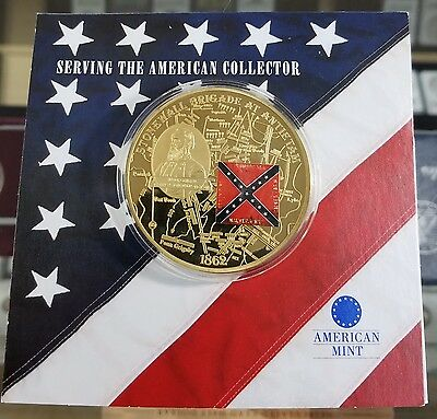 AMERICAN MINT COMMEMORATIVE 24K Gold Plated CONFEDERATE Coin STONEWALL JACKSON!