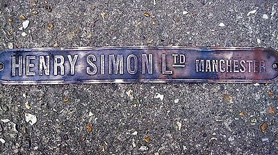 vintage brass sign /plaque engineering firm Manchester Henry Simon antique