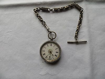 Solid Silver Victorian Pocket Watch In Working Order With Solid Silver Chain