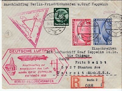 Zeppelin cover 1933 Germany to USA double cachet chicagofahrt