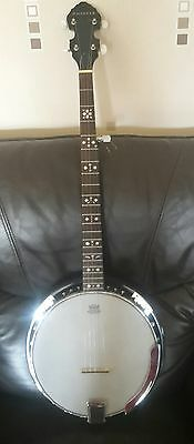 antoria 5 string banjo with superior gig case and accessories