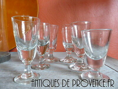 Set 6 Antique french Glasses hand blown glass 1880 Absinthe Verre Bistrot Bar #1